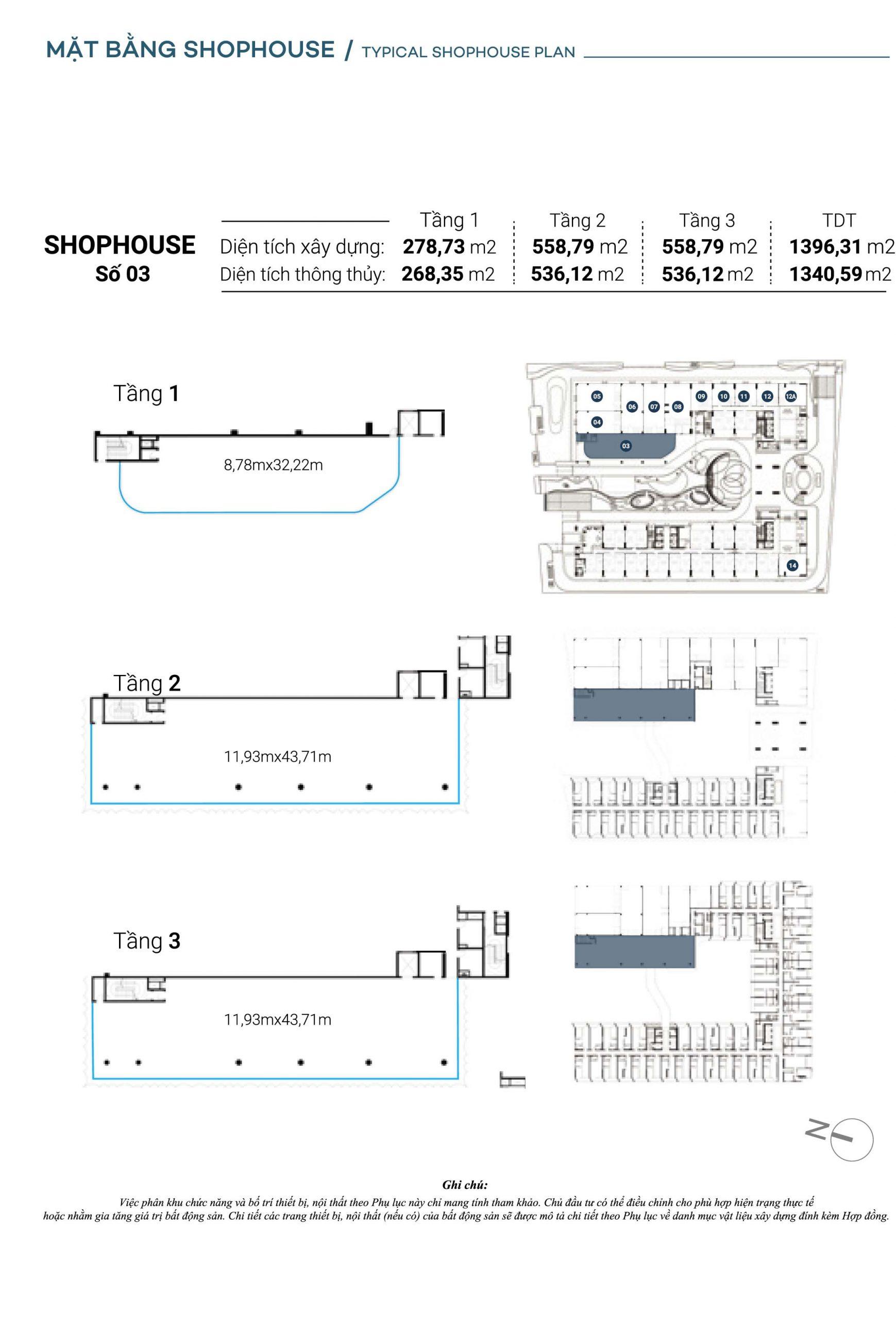 Mặt bằng chi tiết Căn Shophouse số 3 The Sóng
