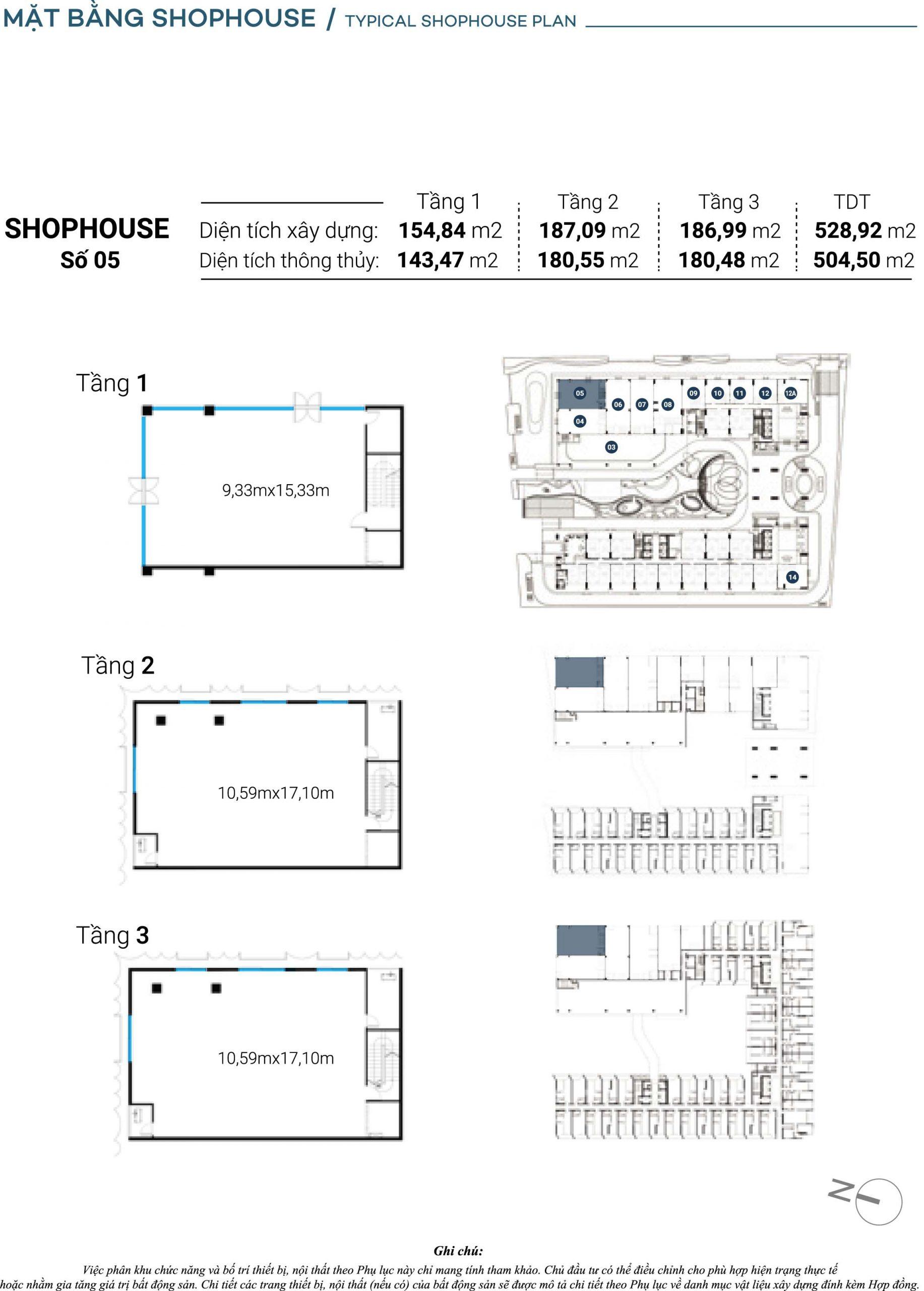 Mặt bằng chi tiết Căn Shophouse số 5 The Sóng