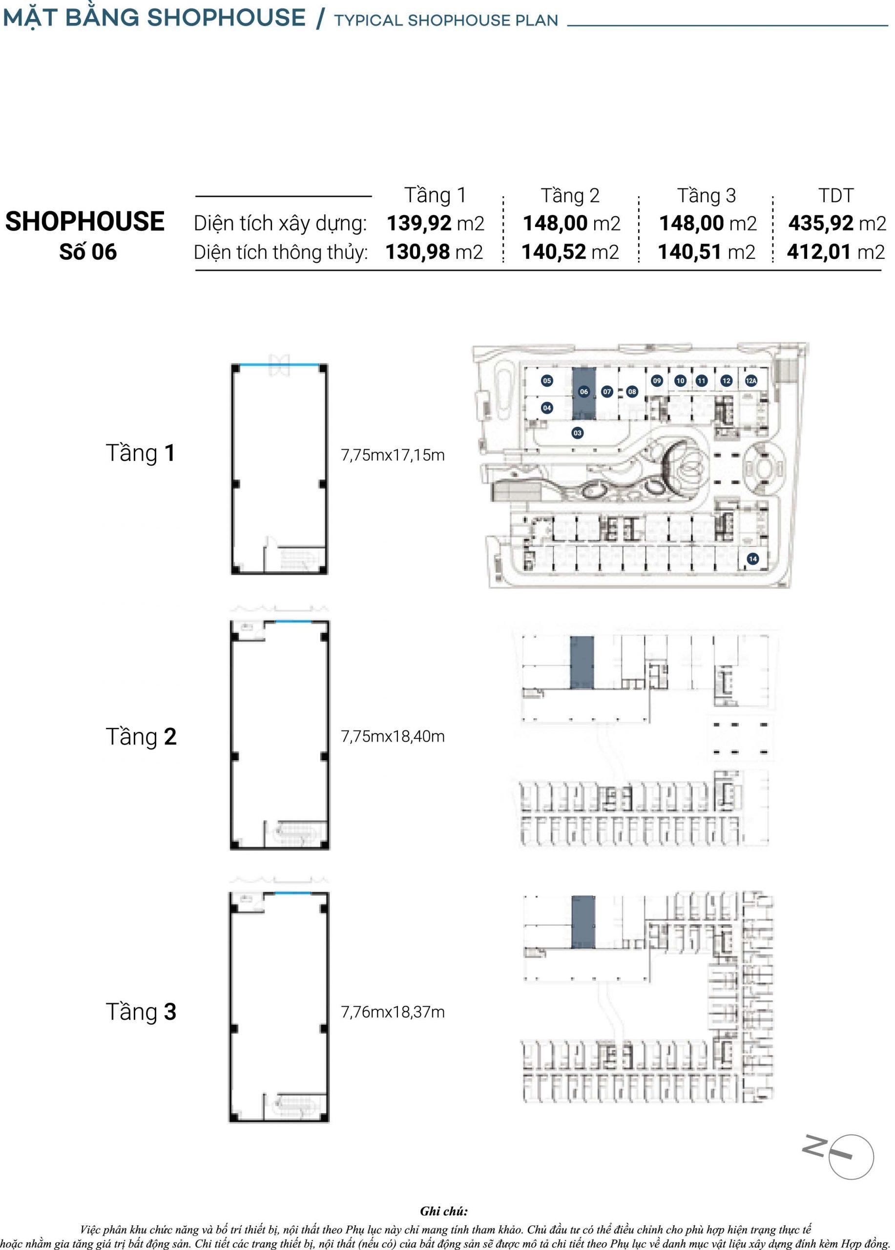 Mặt bằng chi tiết Căn Shophouse số 6 The Sóng