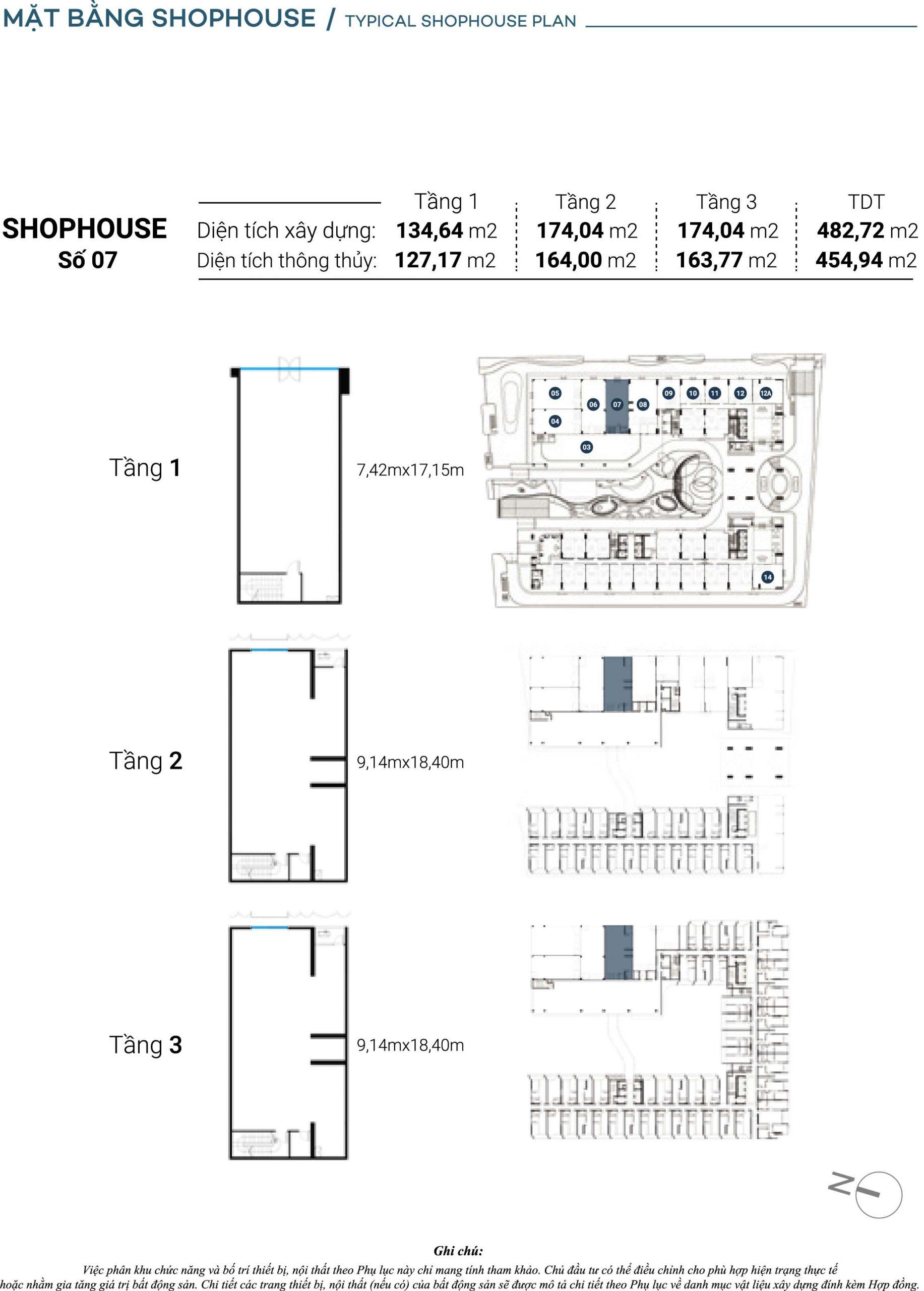 Mặt bằng chi tiết Căn Shophouse số 7 The Sóng