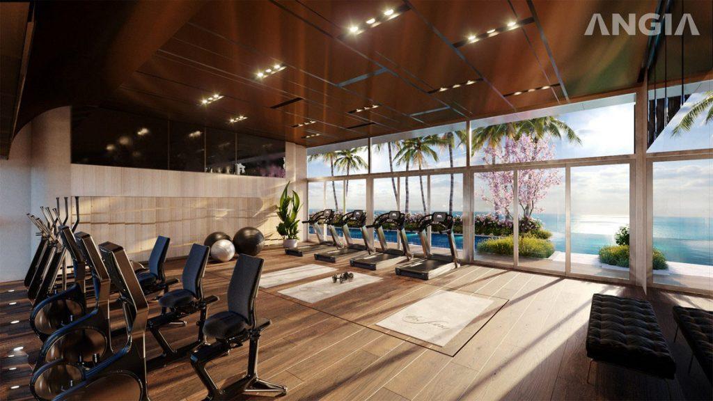 Phòng tập Gym tại tầng 35 view hồ bơi và toàn cảnh Vũng Tàu tại căn hộ du lịch condotel The Sóng Vũng Tàu
