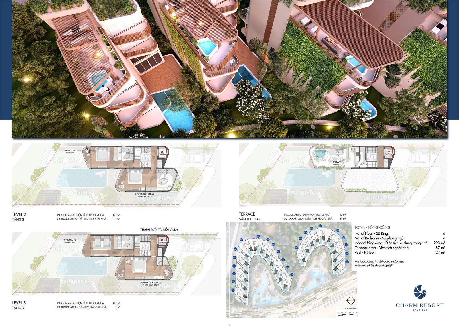 Mặt bằng Villas (tầng 2)