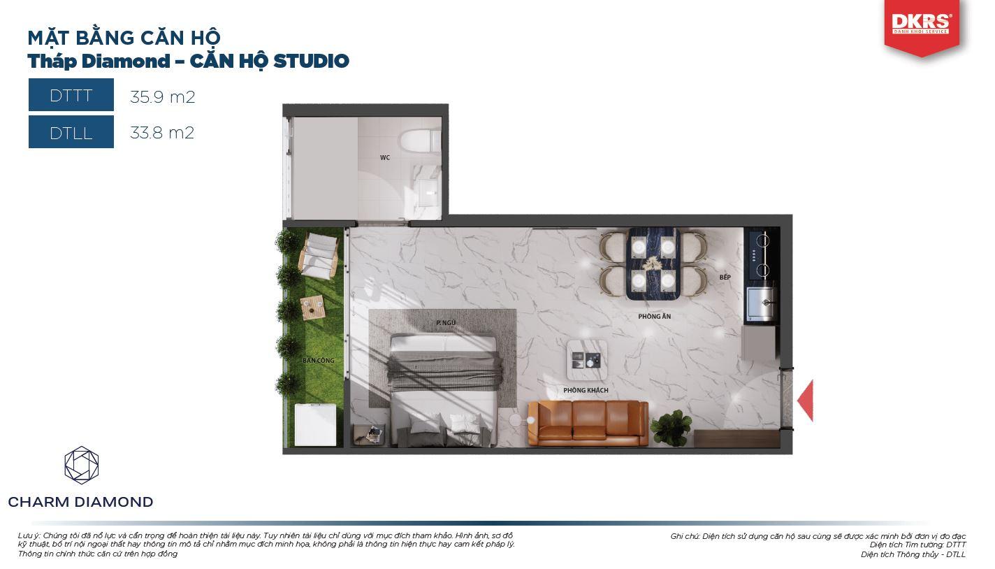 Mặt bằng căn Studio 35.9m2