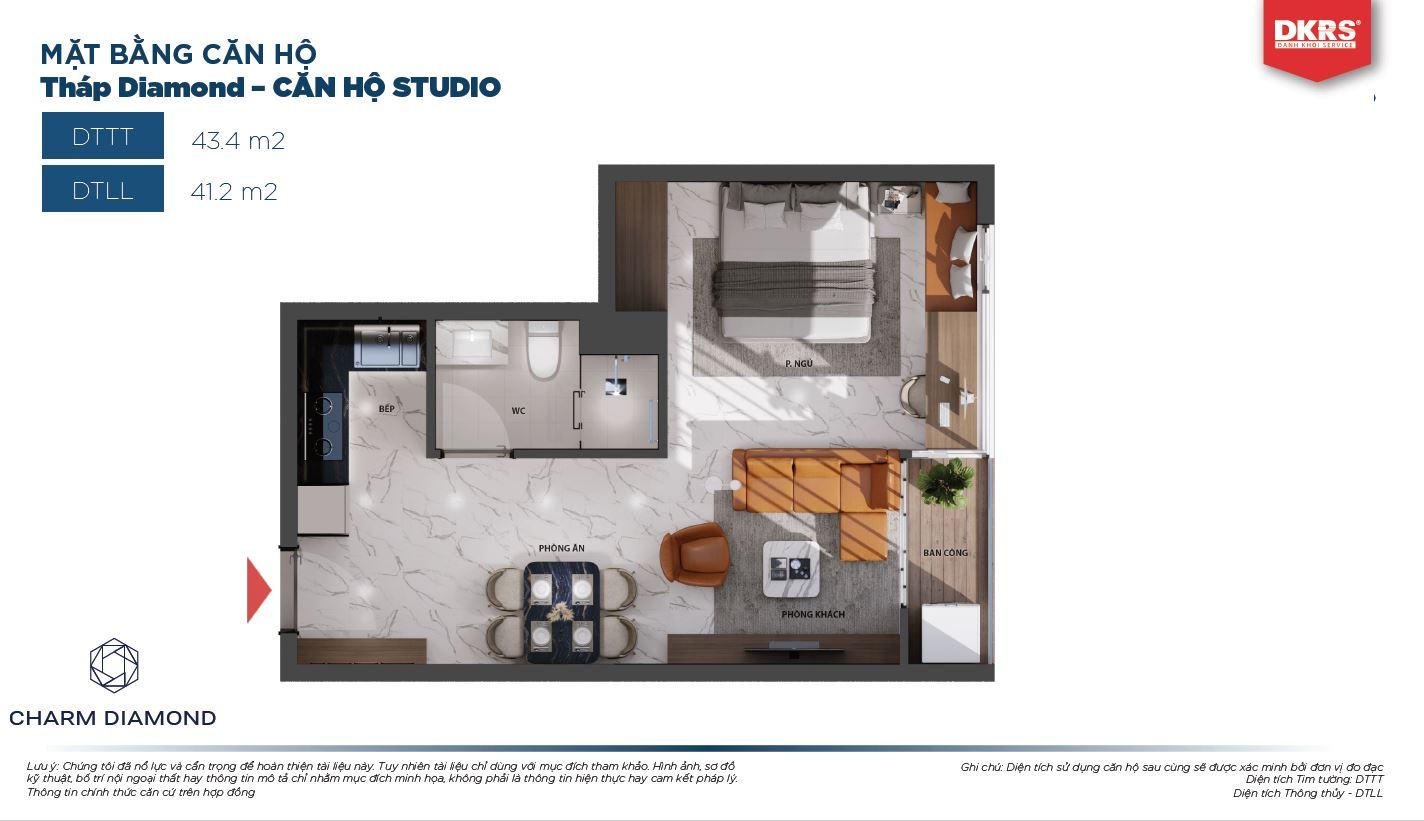 Mặt bằng căn Studio 43.4m2