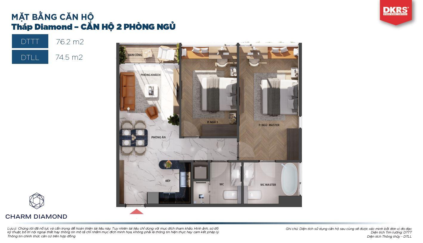 Mặt bằng căn 2PN 76.2m2